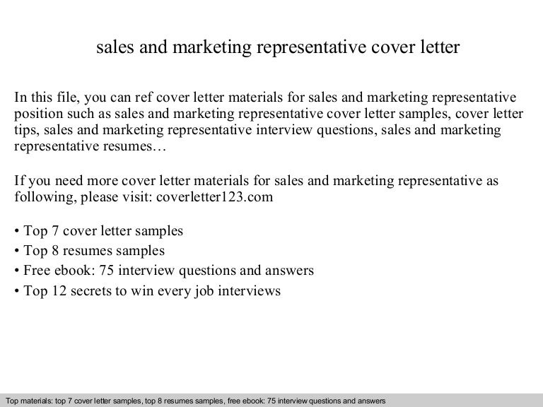 sales and marketing representative cover letter