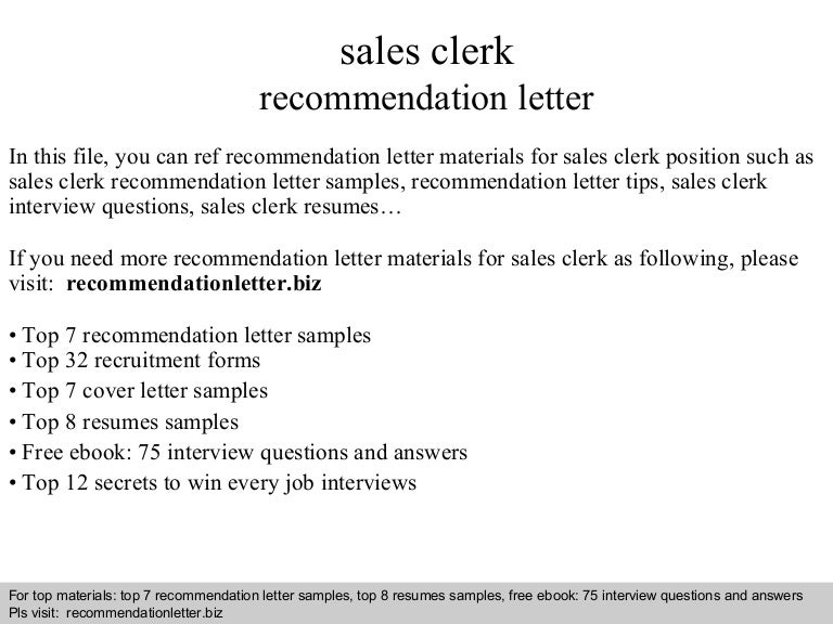 sales clerk recommendation letter