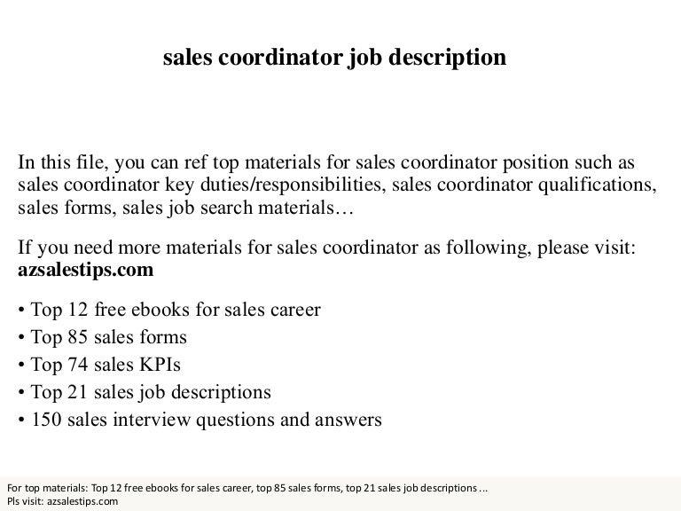 Sales coordinator – Sales Coordinator Job Description