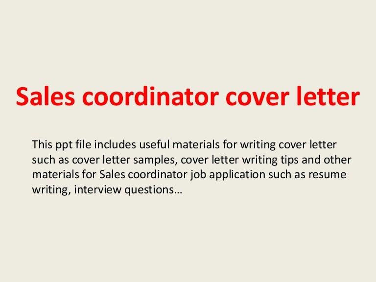 sales coordinator cover letter