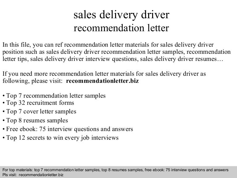 Sales delivery driver recommendation letter spiritdancerdesigns Choice Image