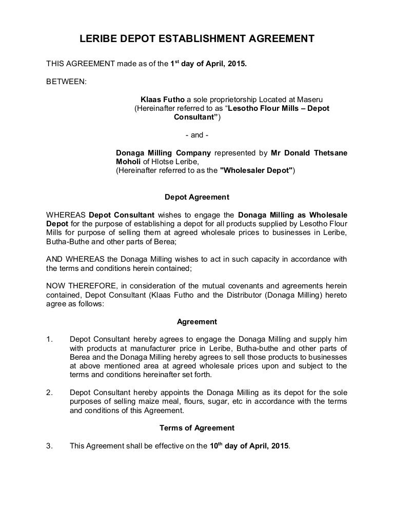 Sales depot agreement