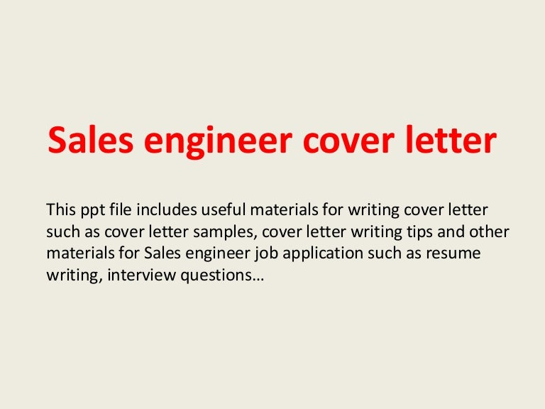 Sales Engineer Cover Letter Sample. Sales Engineer Cover ...
