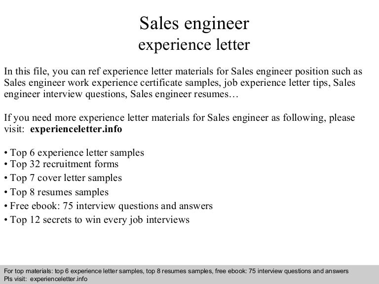 Sales Engineer Experience Letter