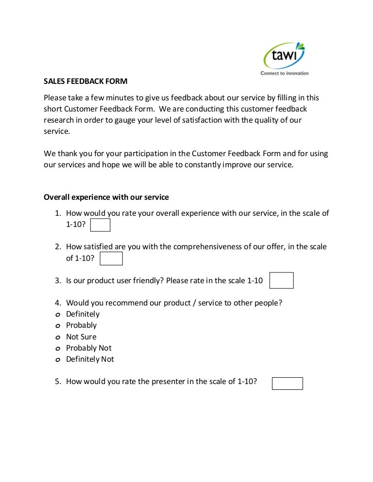 Tawi Sales Feedback Form