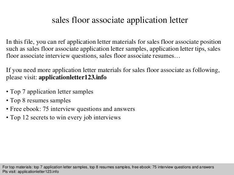 sales floor associate application letter