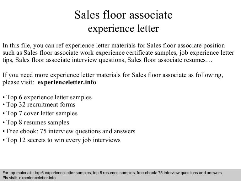 salesfloorassociateexperienceletter 140828105347 phpapp02 thumbnail 4 jpg cb 1409223250