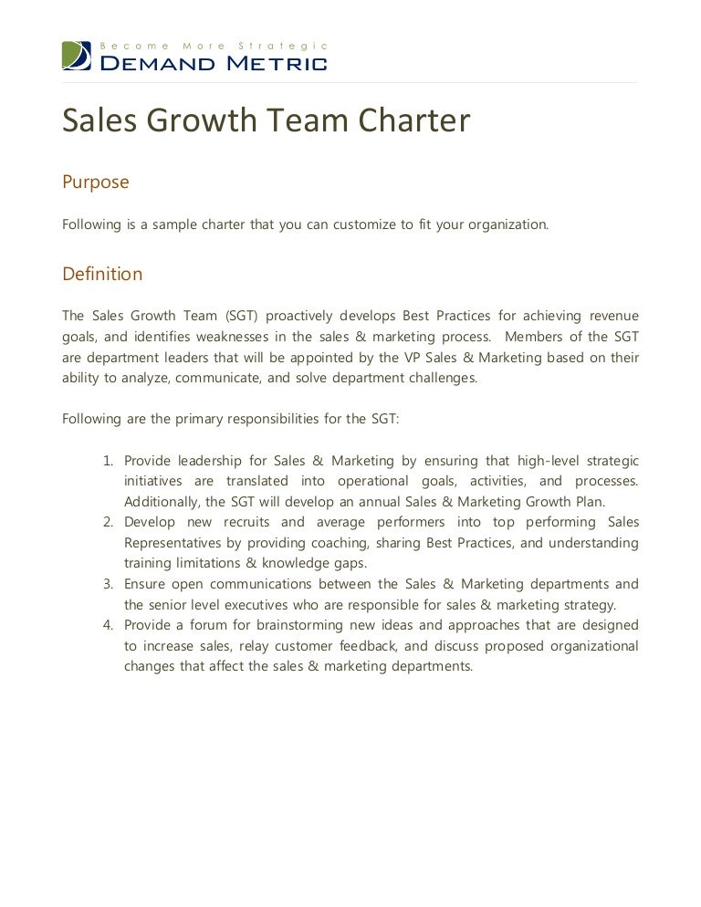 Sales Growth Team Charter