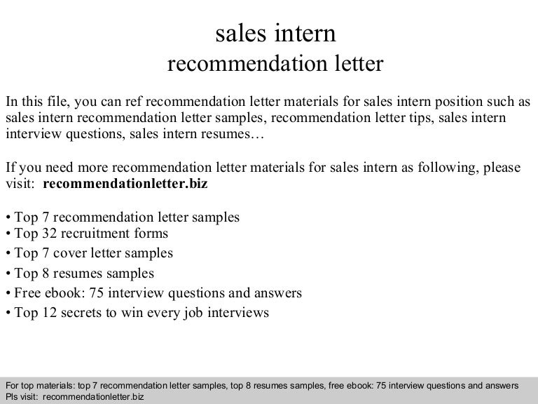 Sales Intern Recommendation Letter
