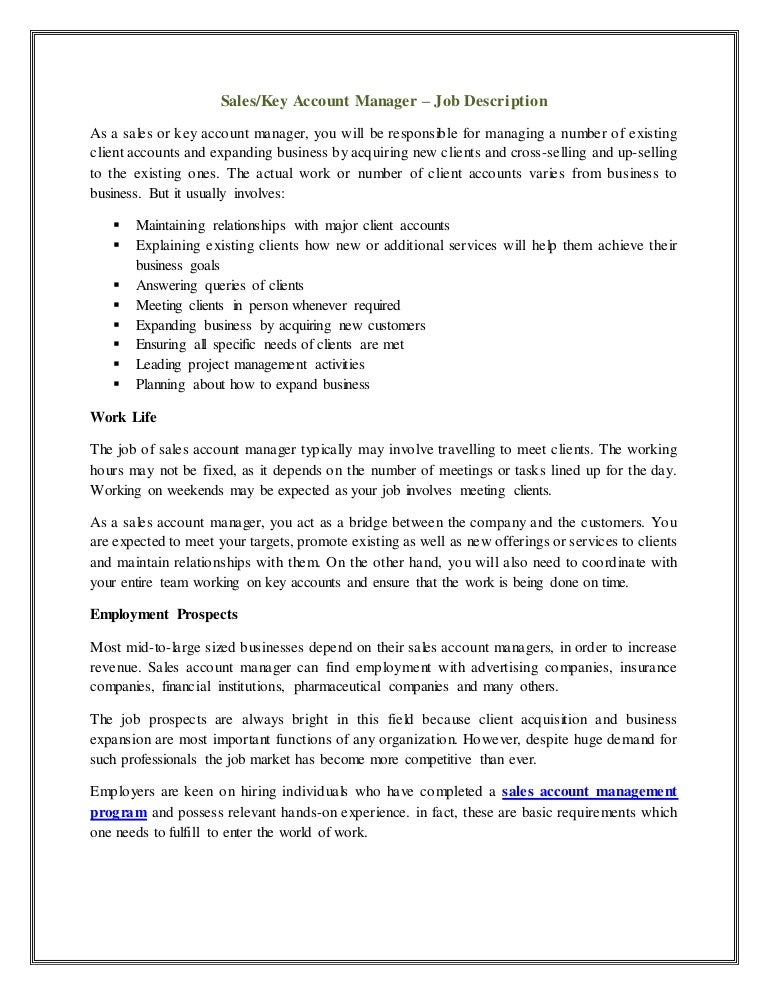 Account Executive Job Description Resume