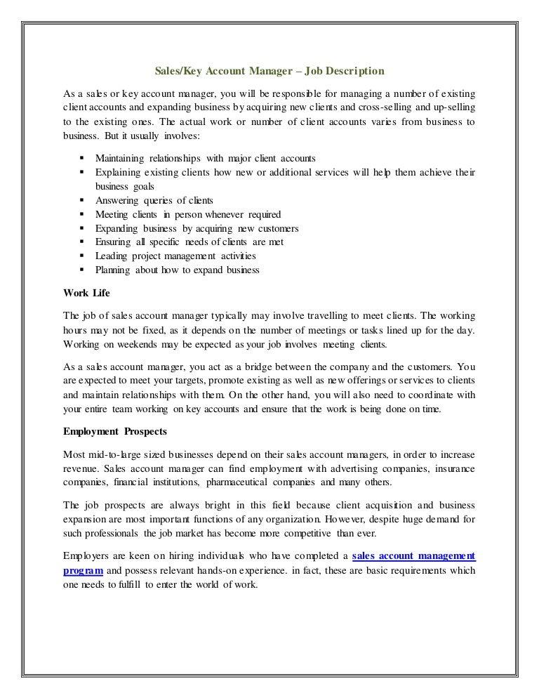 sales key account manager job description