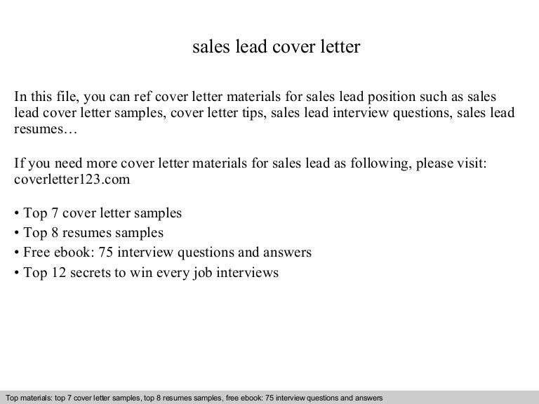 Sales lead cover letter