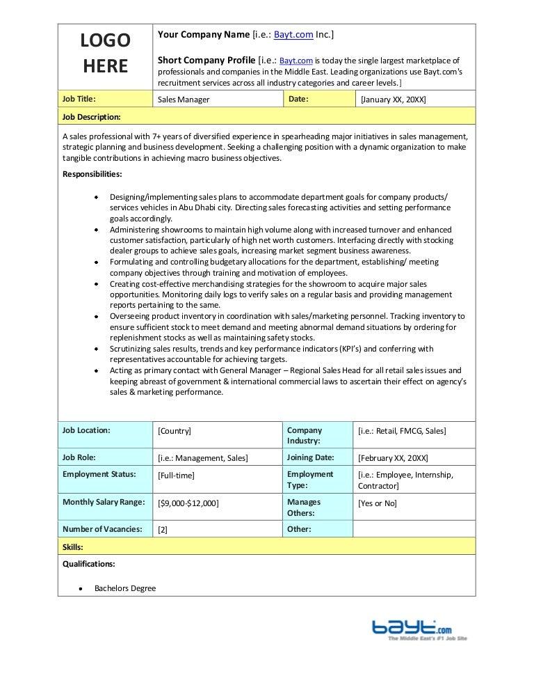 Sales Manager Job Description Cv. sales assistant cv example shop ...