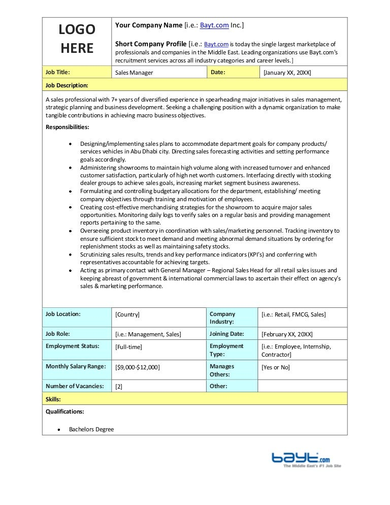Sales Manager Job Description Template By Bayt.Com