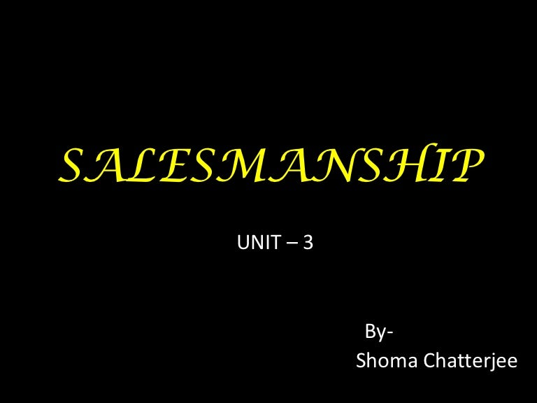salesmanship The job of a good salesman is to achieve sales that have been given to him by his immediate boss these targets are a result of all discussions that have taken place within the sales and marketing department.