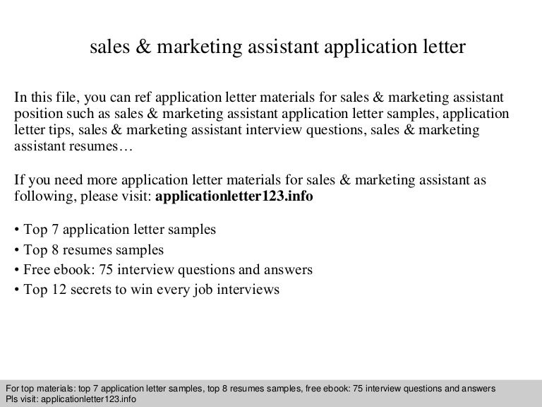 Sales & Marketing Assistant Application Letter
