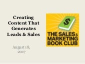 Sales & Marketing Book Club  8-18-17