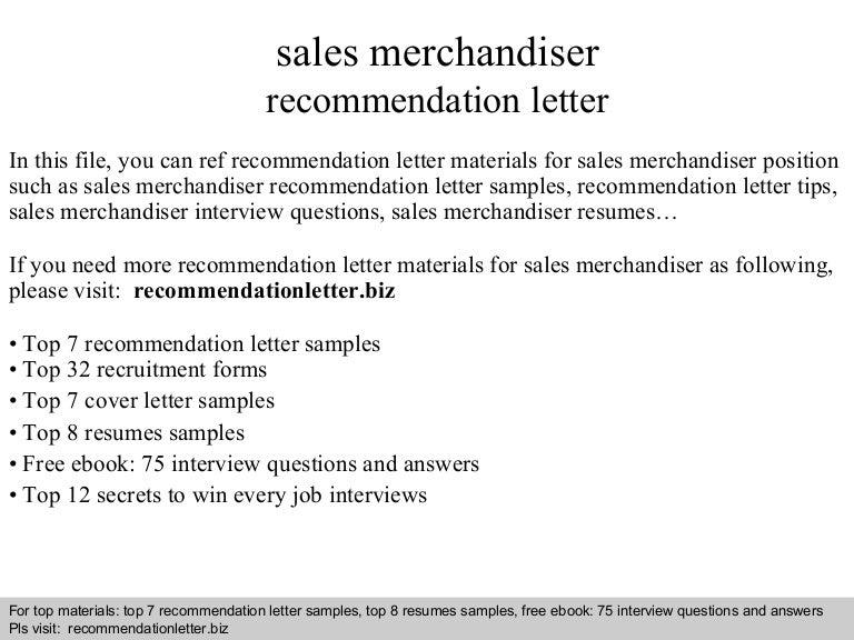 Sales merchandiser recommendation letter – Merchandiser Job Description
