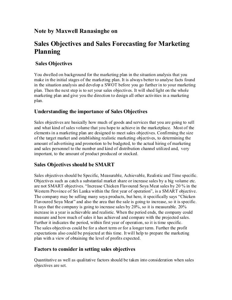 sales objectives and sales forecasting