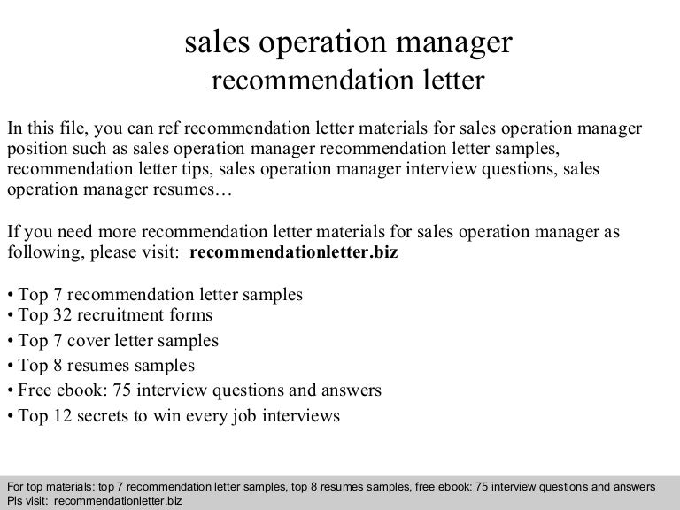 Sales Operation Manager Recommendation Letter