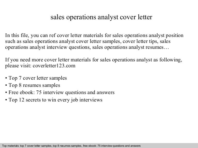 sales operations analyst cover letter - Cover Letter Sales Job