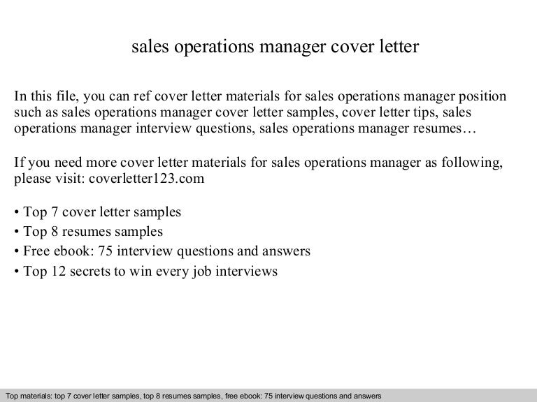Sales operations manager cover letter