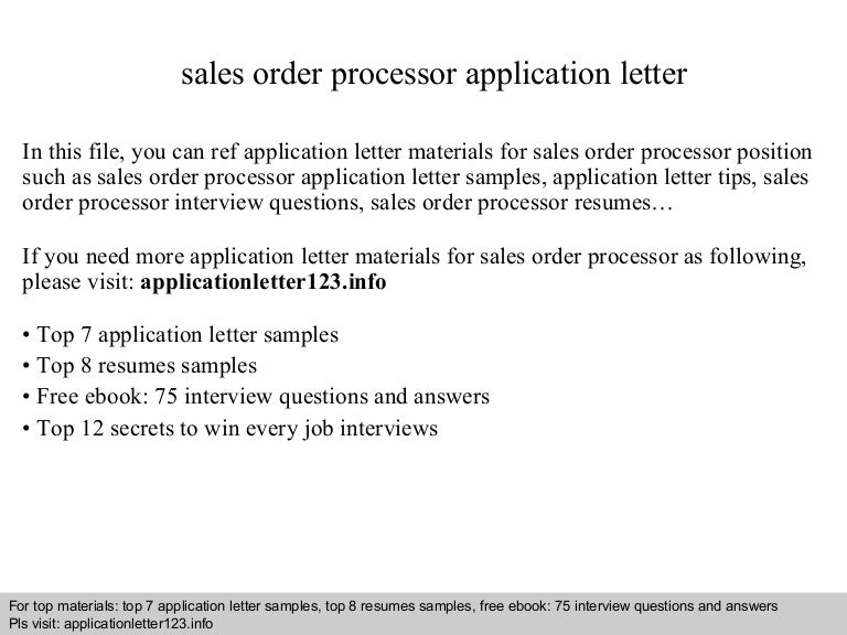 Sales Order Processor Application Letter