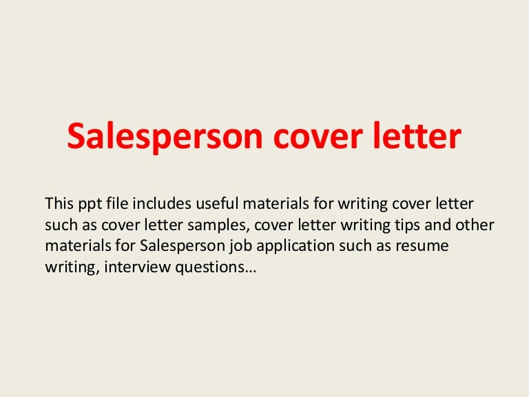 Salesperson Cover Letter Sample