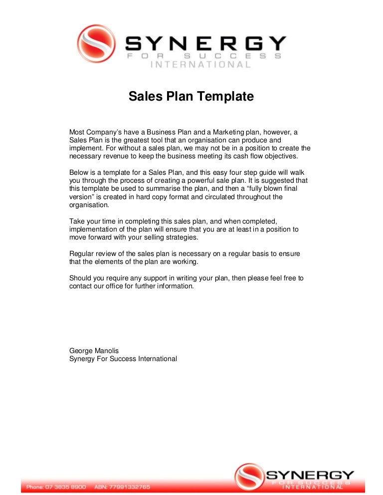 Sales plan template – Template for Sales Plan
