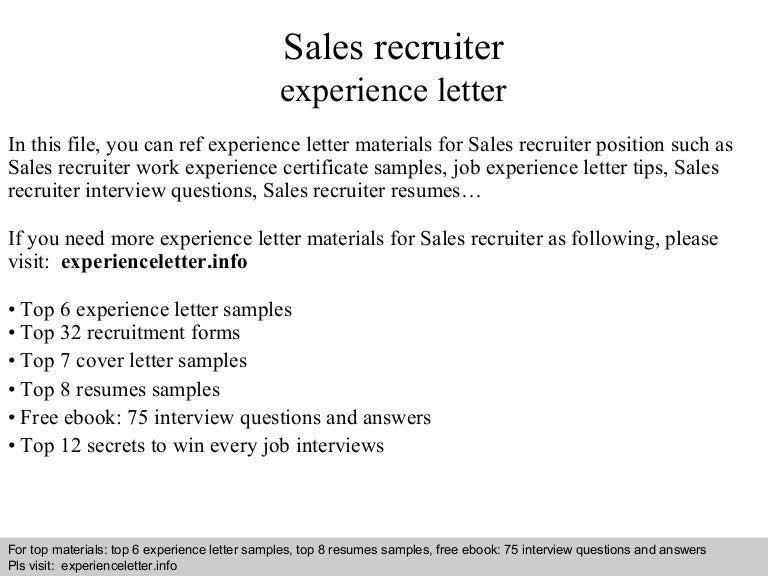 Sales Recruiter Experience Letter