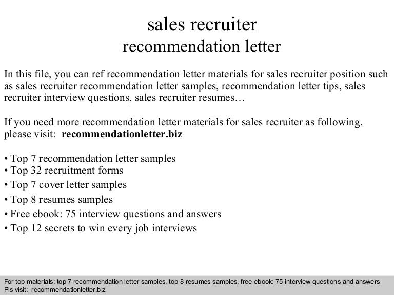 sales recruiter recommendation letter