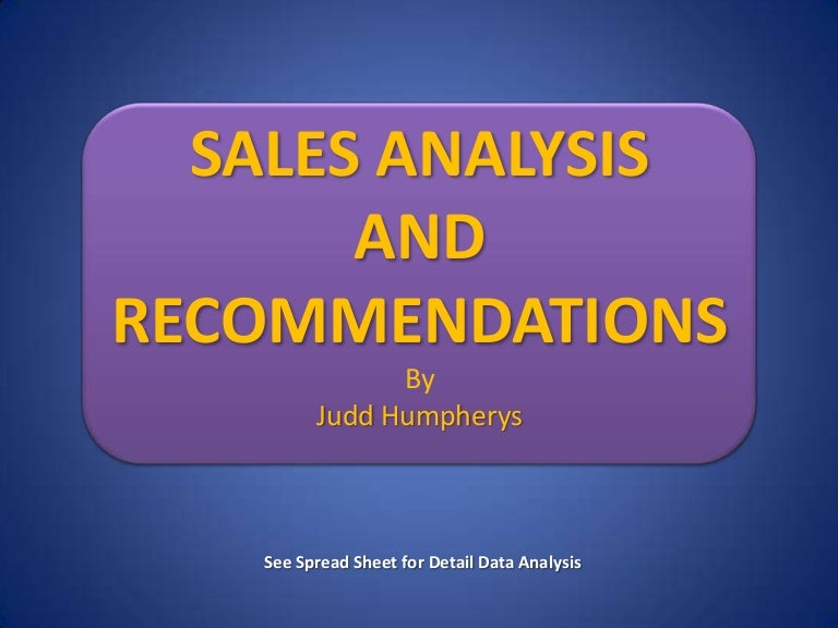Sales Report Analysis And Recommendation