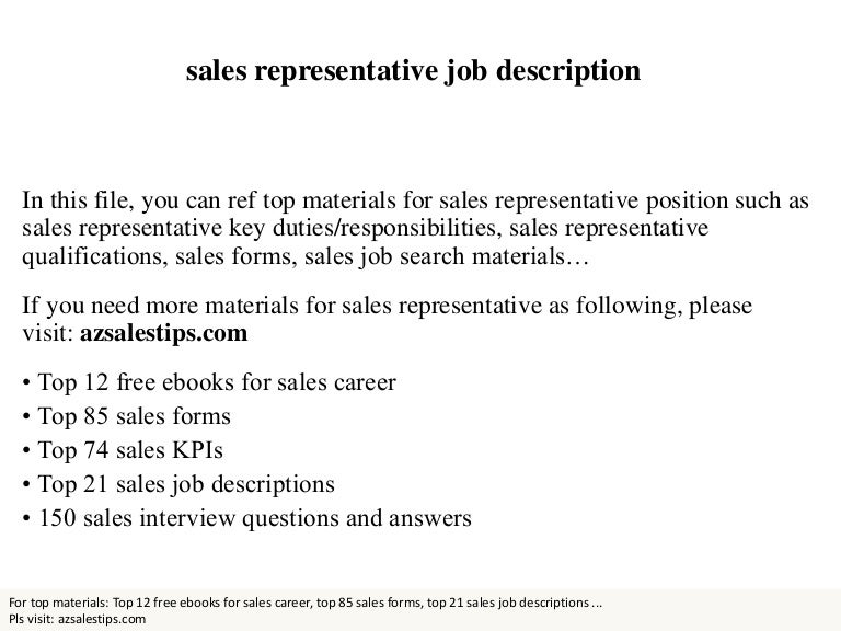 Sales representative – Sales Rep Job Description
