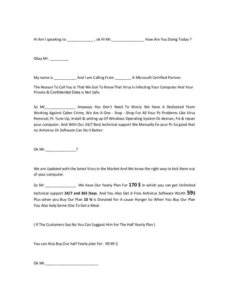 Sales script demo
