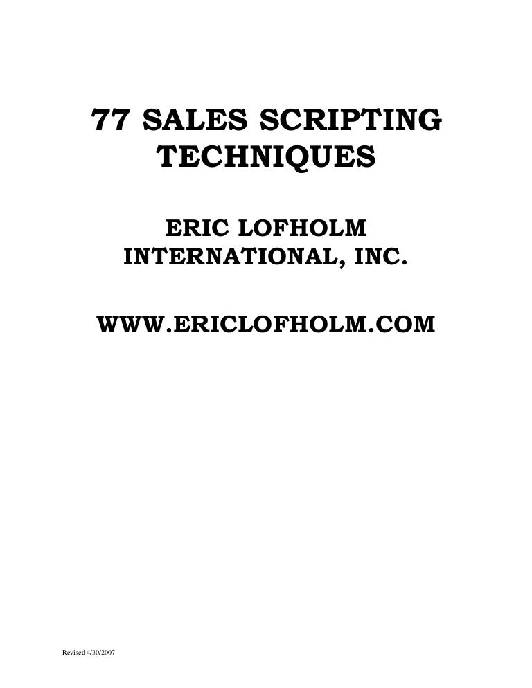 Sales script sample