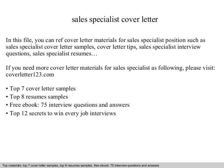 sales specialist cover letter