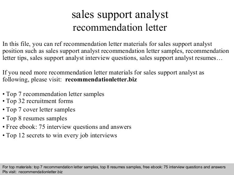 Sales support analyst recommendation letter