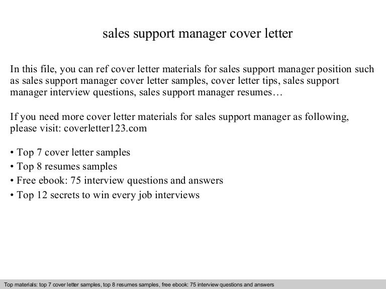Sample Cover Letters For Inside Sales Support