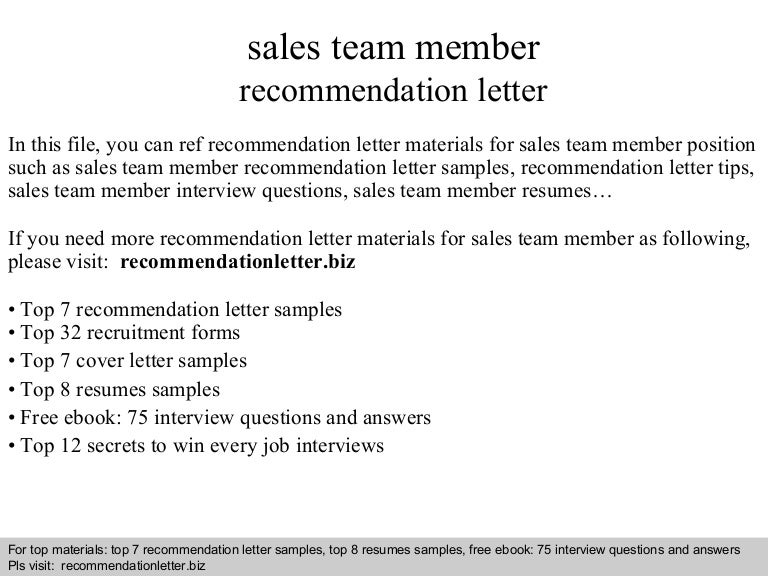 Sales team member recommendation letter spiritdancerdesigns Image collections