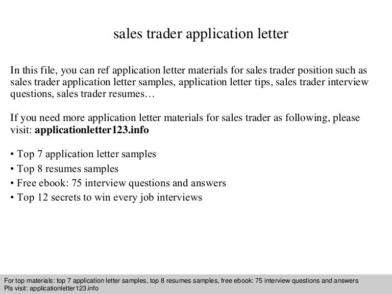 Sales trader application letter