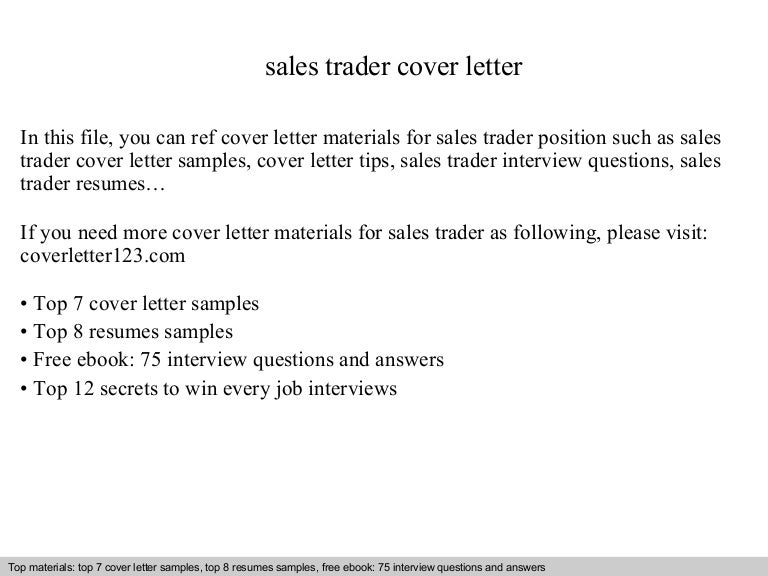 sales and trading cover letter - Elim.carpentersdaughter.co