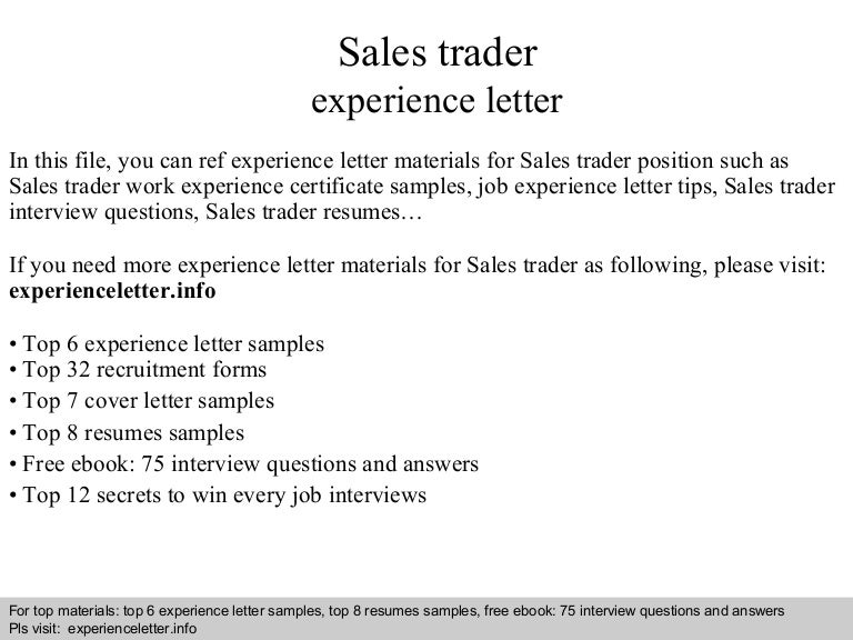 Sales Trader Cover Letter Aploon