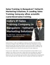 Sales Training in Bangalore? Yatharth Marketing Solutions, A Leading Sales Training Company offers scientific customized sales training.