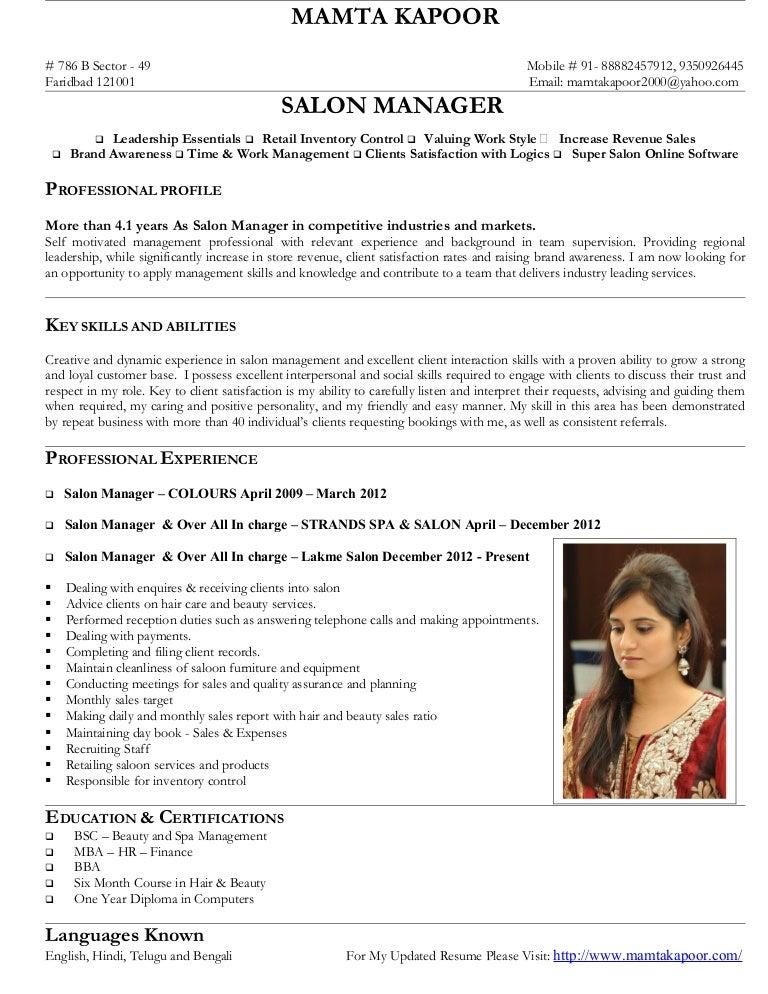 Resume Resume Examples Salon Manager salon manager mamta kapoor
