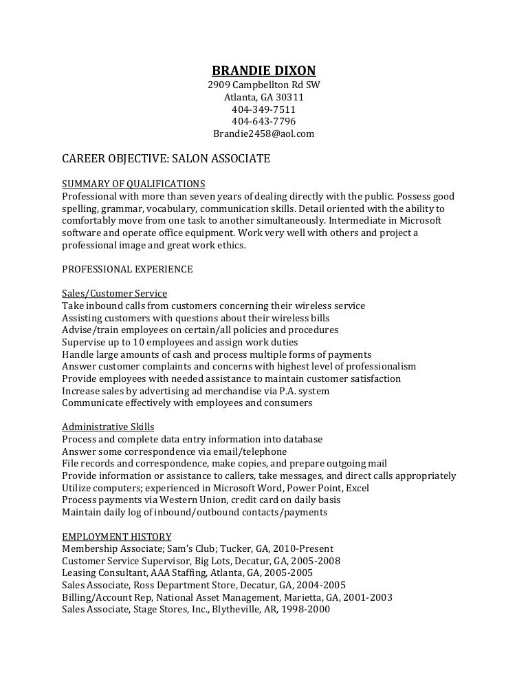 salon resume - Sample Resume For Leasing Consultant