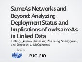 SameAs Networks and Beyond: Analyzing Deployment Status and Implications of owl:sameAs in Linked Data