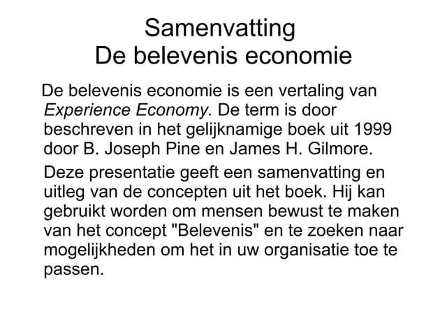 Samenvatting Belevenis Economie