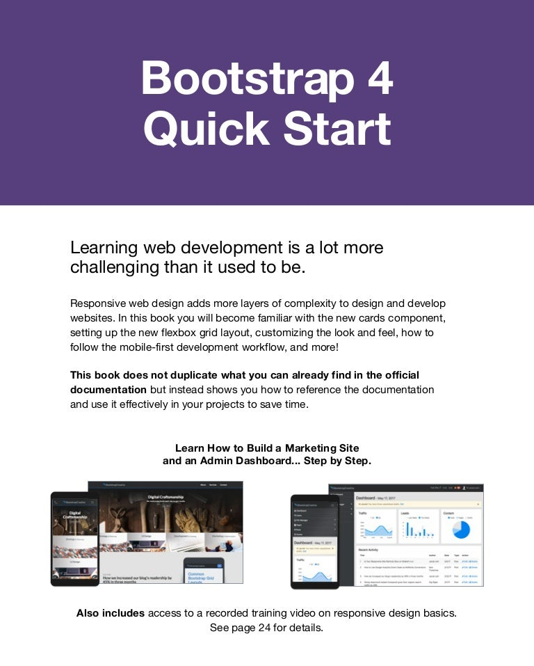 Bootstrap 4 Tutorial Quick Start Book Sample For Beginners 2019