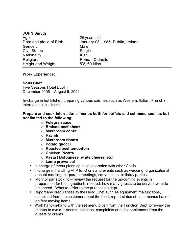 Sample chef-cv for overseas jobs