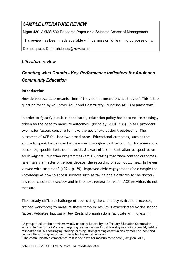 literature review on industrial performance measurements
